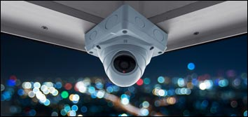 High definition dome camera mounted to ceiling