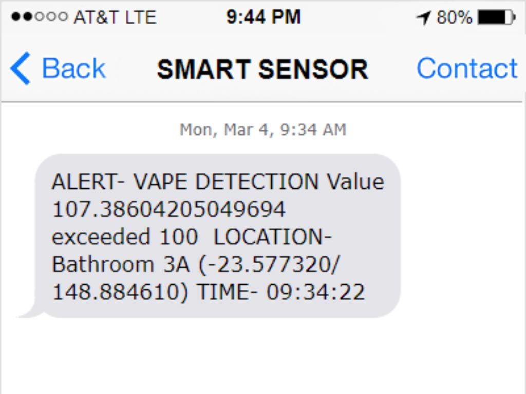 Text Message Alert Vape Detection